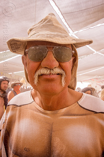 mustachioed man at center camp - burning man 2015, burning man, dusty, hat, mustache, sunglasses