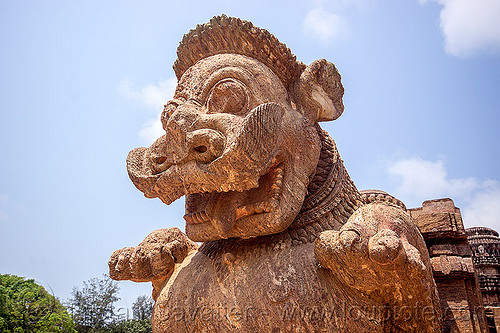 mustachioed stone tiger (india), hindu temple, hinduism, konark sun temple, moustaches, mustache, sculpture, statue, stone tiger