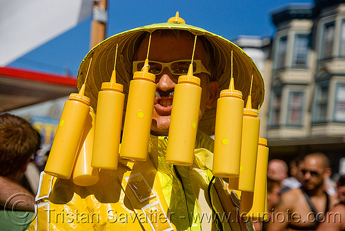 mustard costume - bruce beaudette - dore alley fair (san francisco), hat, man, mustard bottles, people, yellow