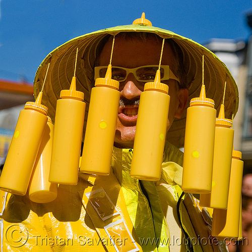 mustard man, bruce beaudette, costume, dore alley fair, man, mustard bottles, straw hat, yellow