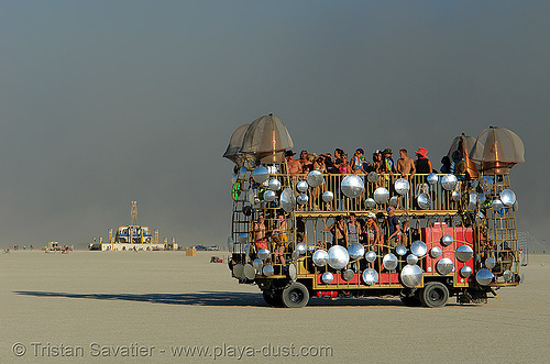 mutant vehicle with convex mirrors - burning-man 2006, art car, burning man, convex mirrors, dust storm, the man