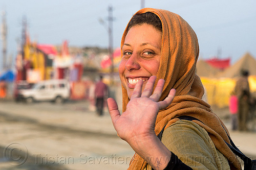 my friend amal at the kumbh mela 2013 (india), amal, hand, hindu, hinduism, kumbha mela, maha kumbh mela, street, woman
