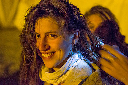 my friend jasmin at kumbh mela 2013, hindu pilgrimage, hinduism, hippie, india, maha kumbh mela, night, rainbow camp, woman
