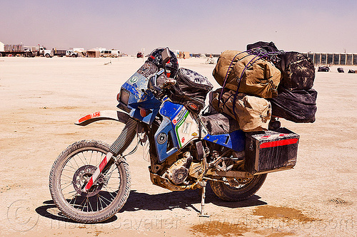 my KLR 650 motorbike loaded with luggage, burning man, dual-sport, duffle bags, kawasaki, klr 650, luggage rack, motorbike touring, motorcycle touring, pannier cases, panniers, playa, tank bag