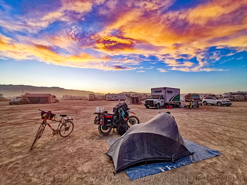 my small camp at sunset - burning man 2019, bicycle, burning man, camp, clouds, glowing, klr 650, motorbike, motorcycle, playa, sunset sky, sunset skybm, tent