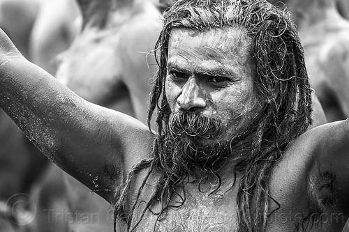 naga baba covered with vibhuti holy ash - kumbh mela hindu festival (india), beard, dreadlocks, dreads, hindu, hinduism, holy ash, kumbha mela, maha kumbh mela, men, naga babas, naga sadhus, naked, procession, sacred ash, sadhu, vibhuti