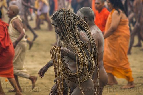naga baba with long dreadlocks - kumbh mela hindu festival (india), babas, beard, crowd, dreads, hinduism, kumbha mela, maha kumbh, maha kumbh mela, men, naga babas, naga sadhus, naked, people, procession, sadhu, vasant panchami, vasant panchami snan, walking