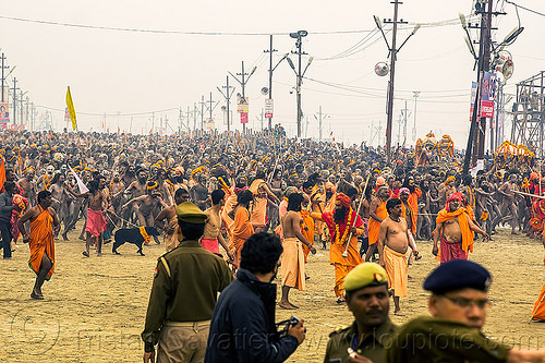 naga babas procession at the kumbh mela hindu festival (india), cops, crowd, flower necklaces, hindu, hinduism, holy ash, kumbha mela, maha kumbh mela, marigold flowers, men, naga babas, naga sadhus, naked, orange flowers, police officers, procession, sacred ash, sadhu, triveni sangam, vasant panchami snan, vibhuti, walking
