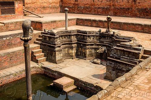 naga pokhari water cistern - bhaktapur durbar square (nepal), bhaktapur, cistern, durbar square, fountain, naga pokhari, stairs, steps, water tank