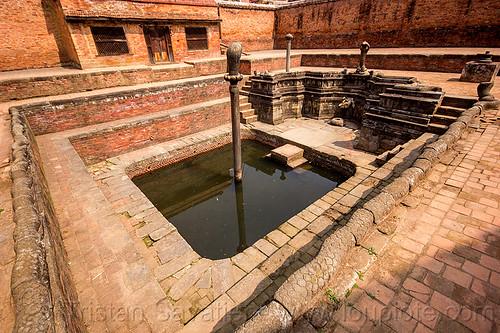 naga pokhari water cistern - bhaktapur durbar square (nepal), columns, fountain, naga snake, nāga, nāga snake, stairs, steps, water tank