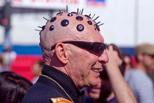 nails on head, bald head, bindis, folsom street fair, juan, man, nails, shaved head, shaven head, spikes, spiky
