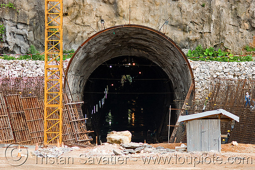 nam theun 2 hydroelectric project (laos) - adit - downstream canal tunnel entrance, adit, construction, hydro-electric, laos, nam theun 2 hydroelectric project, nam theun power company, ntpc, tunnel, tunneling equipment, tunneling machine