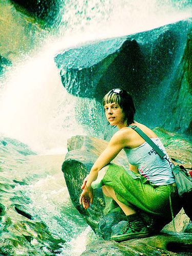nam-tok-chat-trakan - thailand waterfall - anke-rega, anke rega, cross-processed, dxpro, falls, people, water, woman, ประเทศไทย