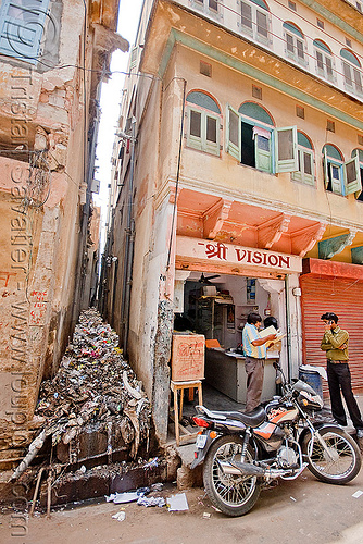narrow alley filled with plastic trash - jaipur (india), environment, garbage, india, jaipur, motorcycle, plastic trash, pollution, single-use plastics