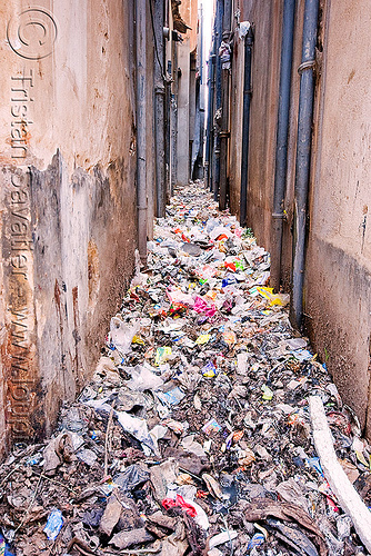narrow passage filled with single-use plastics trash - jaipur (india), environment, garbage, india, jaipur, plastic trash, pollution, single-use plastics