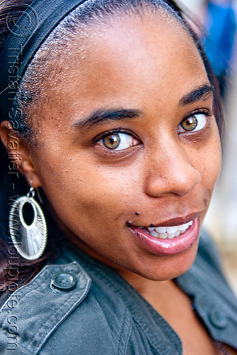 nataisha renée - black girl with green eyes, earring, gay pride festival, green eyed, green eyes, woman