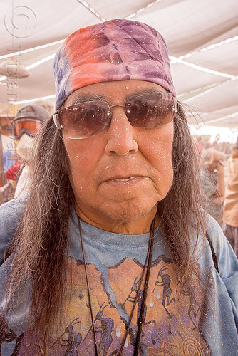 native american man at center camp - burning man 2015, burning man, dusty, indigenous, native american, sunglasses