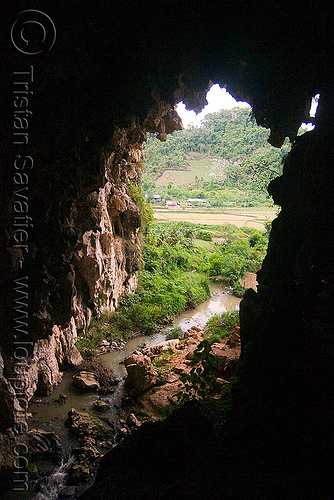 natural cave with underground river (laos), backlight, cave formations, cave mouth, caving, concretions, laos, natural cave, river cave, speleothems, spelunking, stalactites, underground river, viang xai