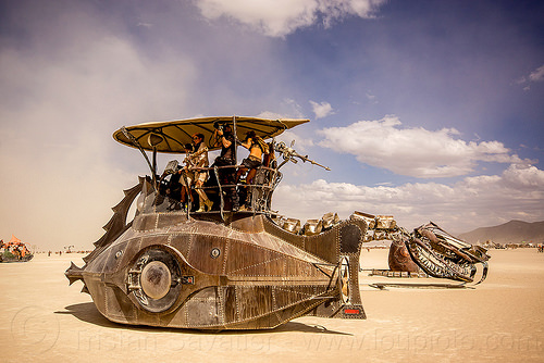 nautilus - burning man 2015, art installation, art ship, boat, burning man, mutant vehicles, nautilus submarine art car, sculpture, serpent mother, snake