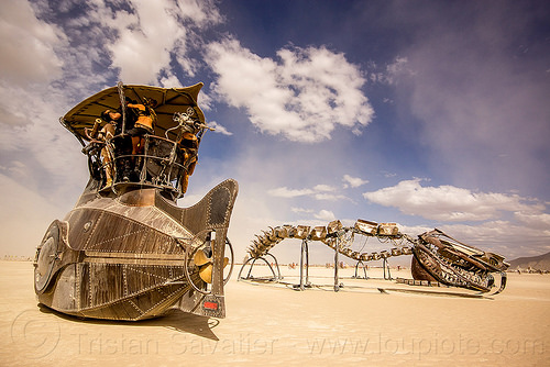 nautilus submarine - burning man 2015, art, art car, art installation, art ship, boat, nautilus submarine art car, sculpture, serpent mother, snake