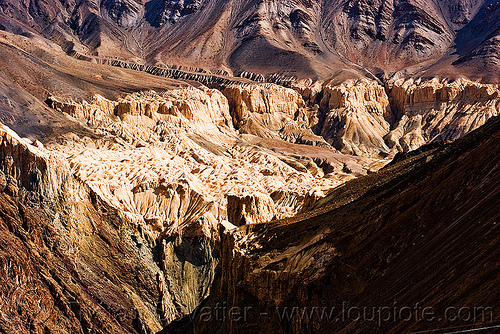 near lamayuru - leh to srinagar road - ladakh (india), eroded, erosion, ladakh, lamayuru, mountains, valley
