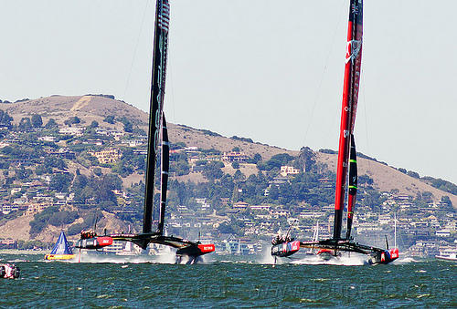 neck and neck - hydrofoil catamarans - america's cup 2013 race (san francisco), ac72, america's cup, bay, boats, emirates team new zealand, fast, foiling, hydrofoil catamarans, hydrofoiling, ocean, oracle team usa, race, racing, sailboat, sailing hydrofoils, sea, ships, speed, two, water