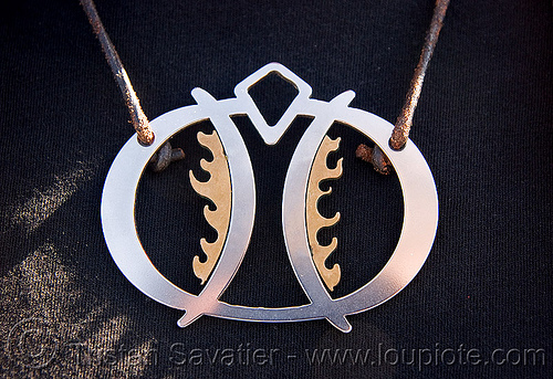 necklace - burning man, brass, burning man logo, jewelry, necklace, steel