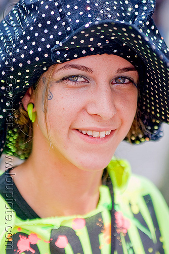 neon green - polka dots hat - girl (san francisco), amanda, festival, how weird festival, people, woman