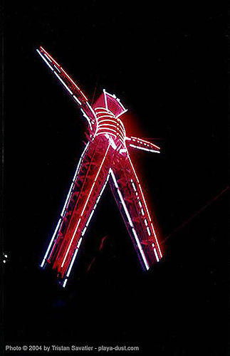 neonman - burning-man, art, burning man, night, the man
