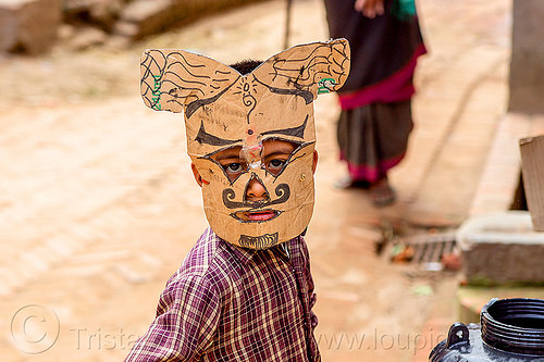 nepali boy with homemade cardboard mask (nepal), bhaktapur, boy, cardboard, child, kid, mask, mustache, playing