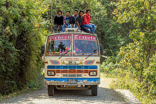 nepali on top of local bus (nepal), bus, front, men, nuwakot, road, roof, sitting, tata motors
