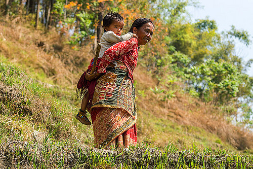 nepali woman carrying little boy on her back (nepal), child, kid, people