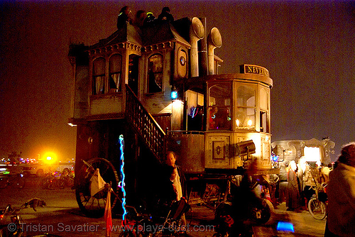 neverwas haul - burning man 2007, burning man, neverwas haul, night, steampunk, victorian