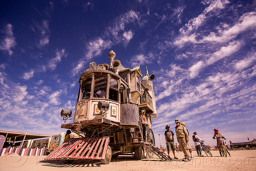 neverwas haul - burning man 2015, art car, clouds, neverwas haul, steampunk, victorian