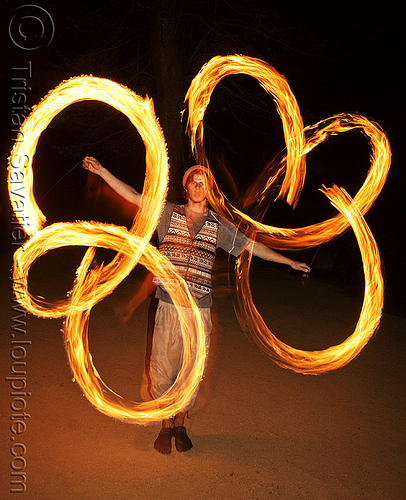 nicky evers spinning fire poi (san francisco), fire dancer, fire dancing, fire performer, fire poi, fire spinning, flames, long exposure, loops, man, nicky evers, night, spinning fire