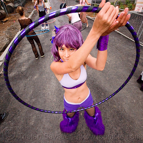 nicole - burning man decompression 2009 (san francisco), cherry hoops, hula hoop, hula hooper, nicole, purple, woman