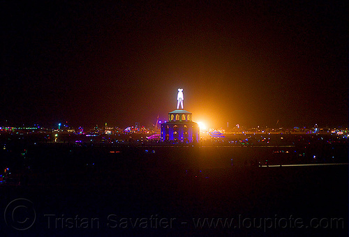 "night panorama with ""the man"" - burning man 2012, burning man, glowing, night, the man"