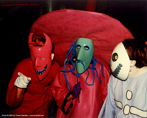 the nightmare before christmas - halloween masks - costumes - devil - halotrio, halloween, masks, the nightmare before christmas, three, tim burton