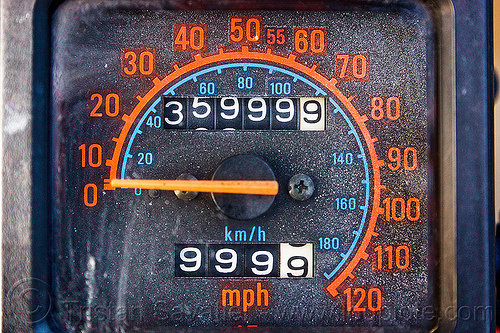 nines on odometer, 9's, 9999, close-up, dial, kawasaki, klr 650, nine, odometer