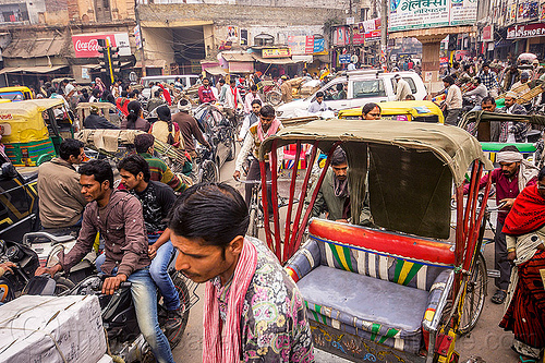 normal traffic jam (india), bicycles, bikes, crowd, cycle rickshaws, gridlock, motorbikes, motorcycles, street, traffic jam, varanasi