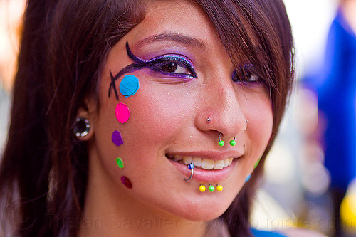 nose and lip piercing, body jewelry, color pasties, color polka dots, devin, how weird festival, lip piercing, nose piercing, rainbow colors, rainbow pasties, rainbow polka dots, septum piercing, woman