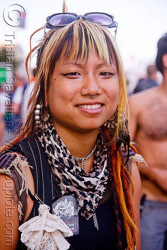 nose piercing - karl - folsom street fair 2009 (san francisco), asian woman, bridge piercing, karl, nose piercing, septum piercing