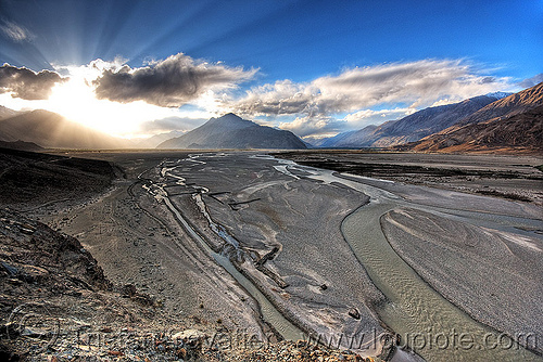 nubra valley - ladakh (india), backlight, clouds, mountains, sand banks, thirit