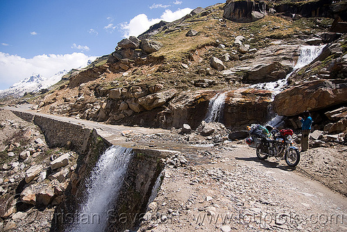 nullah north of rohtang pass - manali to leh road (india), grace liew, india, motorcycle touring, nullah, river, road, rohtang pass, rohtangla, royal enfield bullet, stream, woman