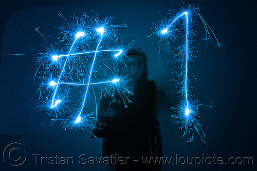 number 1 - #1 - light painting with a blue sparkler, #one, blue, dark, icon, light drawing, light painting, number 1, number one, sarah, silhouette, sparklers, sparkles, symbol