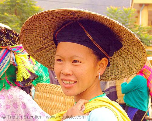 nung tribe woman - vietnam, hat, headwear, hill tribes, indigenous, market, mèo vạc, nùng, people, straw hat