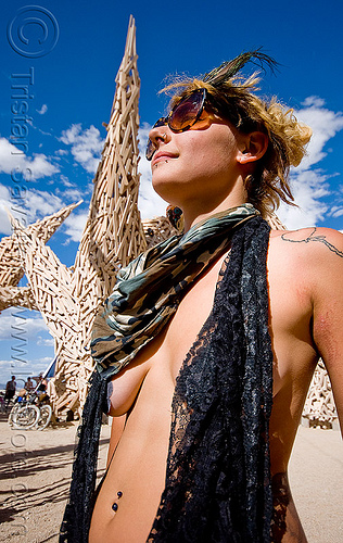 nyima - burning man 2009, burning man, navel piercing, nyima, shoulder tattoo, woman