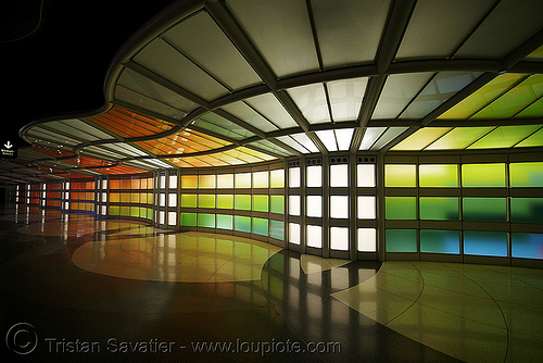 chicago O'hare international airport - pedestrian tunnel, airport, chicago, light wall, o'hare, ord, tunnel