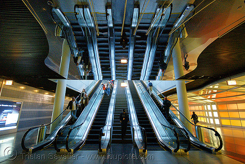 chicago O'hare international airport - escalators - pedestrian tunnel, o'hare, ord, reflection, symmetrical