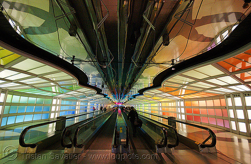 O'hare light tunnel - chicago O'hare international airport - mechanical walkways, airport, chicago, light tunnel, mechanical walkways, o'hare, ord, walkway